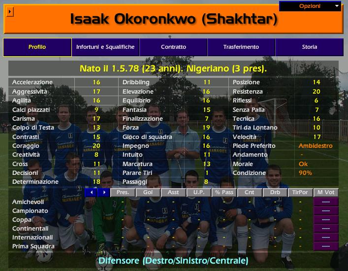 Isaak OKORONKOWO Championship Manager